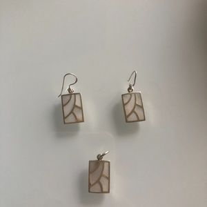 Sterling Silver marble earrings and pendant